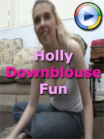 Holly Shows Cleavage on Downblouse Loving