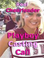 Real Cheerleader Poses at a Playboy Casting Call