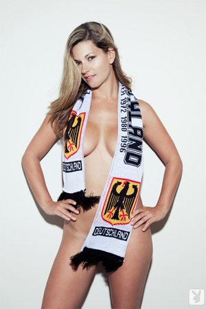 Playboy Amateurs Naked in Soccer Scarfs