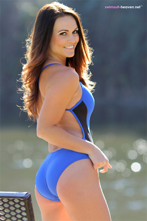 Morgan in a Tight Blue Swimsuit for Swimsuit Heaven